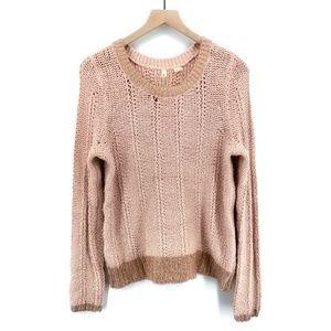 Anthropologie Moth Pink Metallic Sweater - Size M